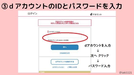 dアカウントある人【手順3】IDとパスワードを入力する