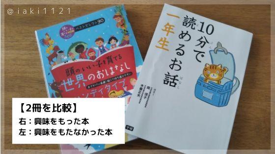 興味をもった本と、もたなかった本2冊を比較しました。