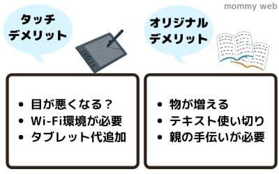 チャレンジタッチとオリジナル(紙)のデメリット比較