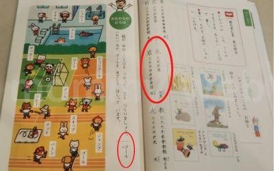 漢字やカタカナが書かれている教科書部分